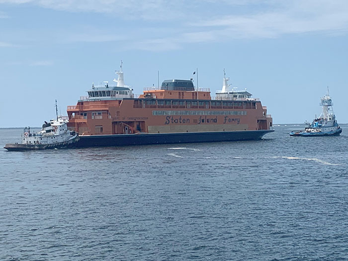 New ferry under tow