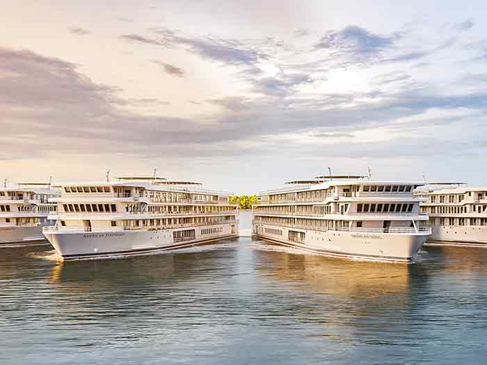 Two modern riverboats