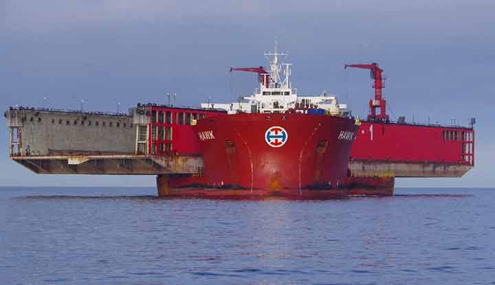 Drydock massively ovetrgangs heavy lift ship