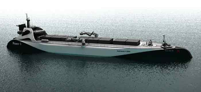 """""""Power ARK 100"""" is a  100.5 meter long x 21.9 meter wide, 2,200 dwt trimaran"""