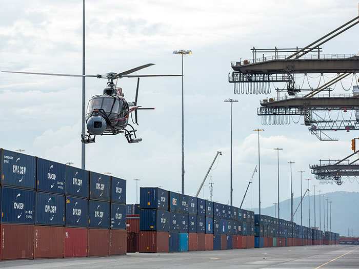 helicopter with CMA CGM containers used in new James Bond movie