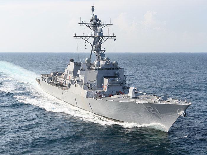 Destroyer on sea trials