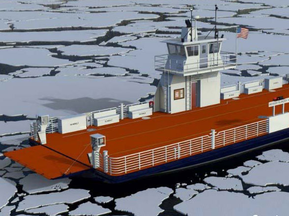 Ferry boat in ice