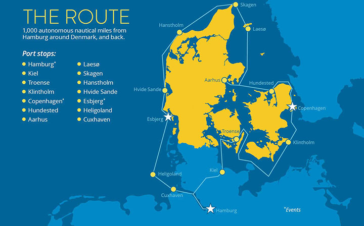 Map shows 1,000 mile route arpund Denmark to be taken by autono,ous tugboat.