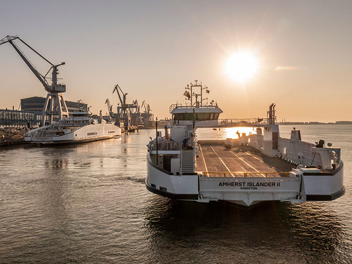 Two ferries at shipyard