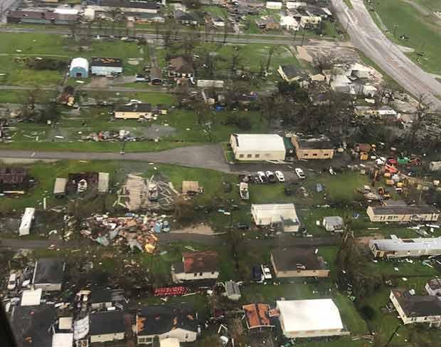 Overflight photo of hurricane ida damagr
