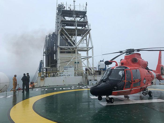 Helicopter on drillship helipad