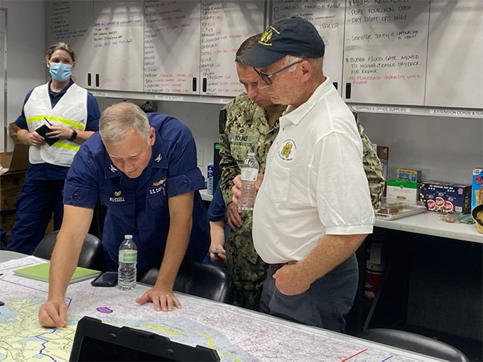 Navy and Coast Guard officers plan Hurricane Ida response strategy
