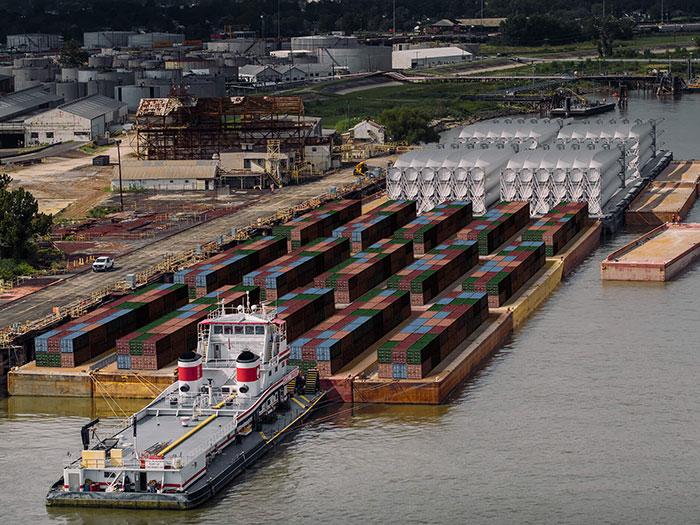 Barges alongside