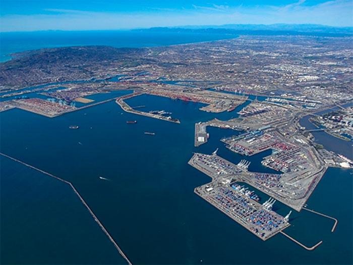 Aerial view of San Pedro Bay ports