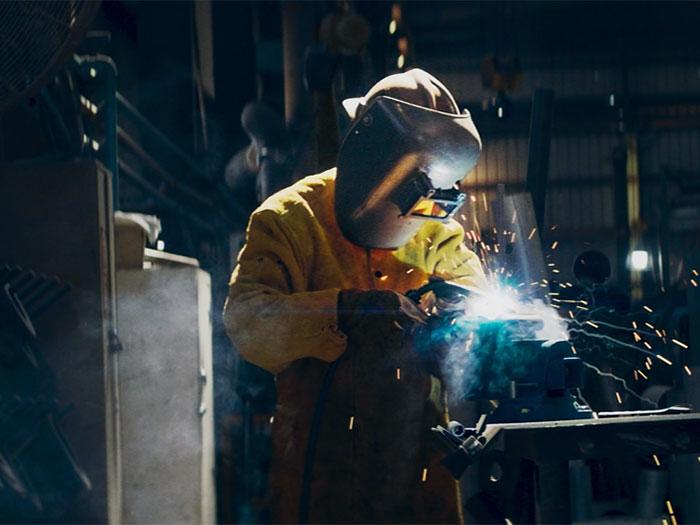Shipyard welder at work