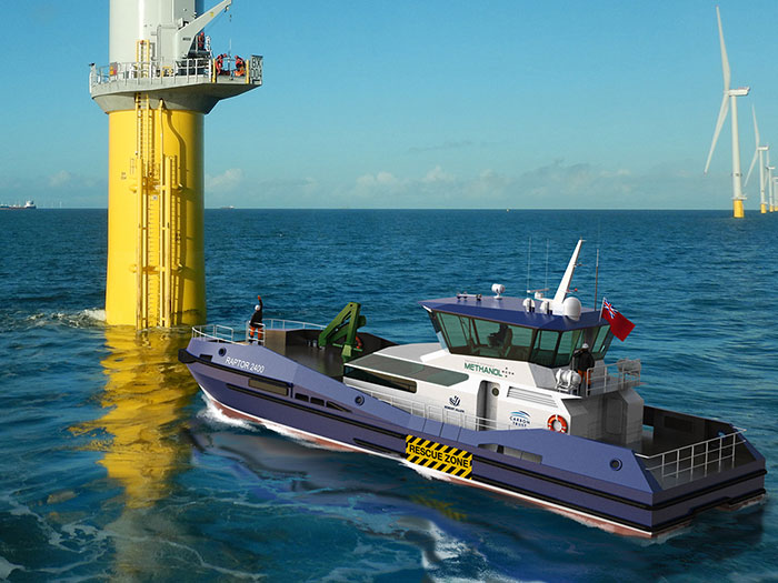 Methanol-fueled WITV approaching offshore wind turbine