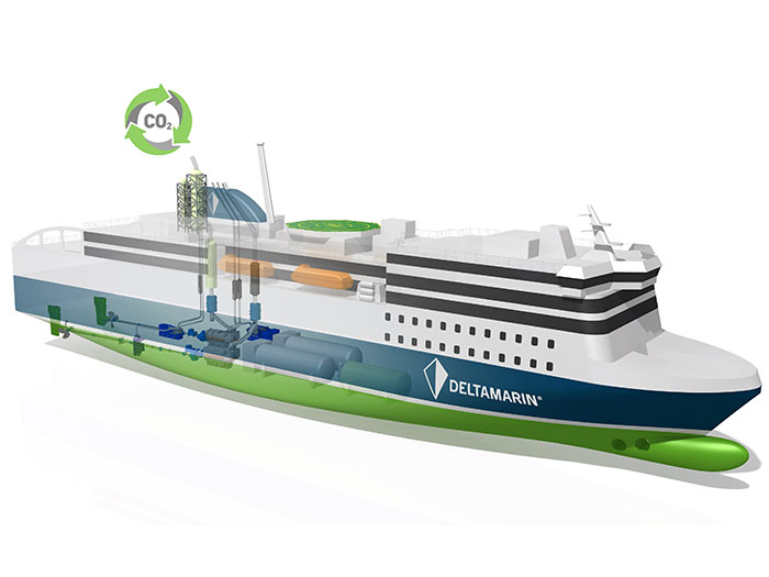 RoPax ferry fitted with carbon capture system
