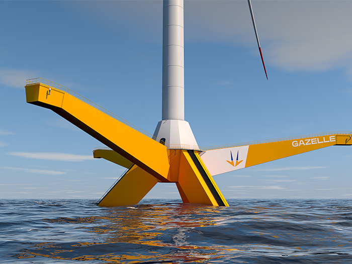 Gazelle platform is a hybrid of semi-submersible and tension leg platform designs.