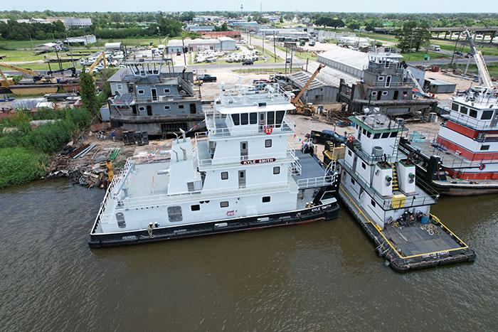 Towboat at shipyard