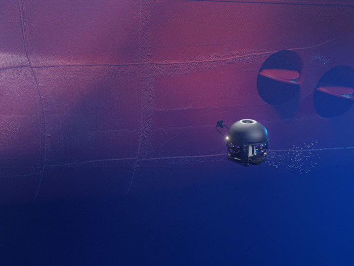 ROV drone inspects hull coating