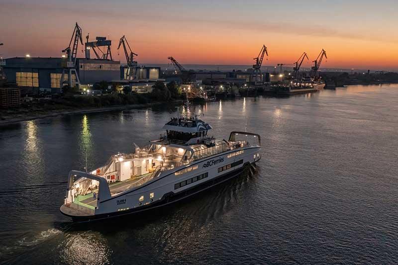 battery hybrid ferry at dawn