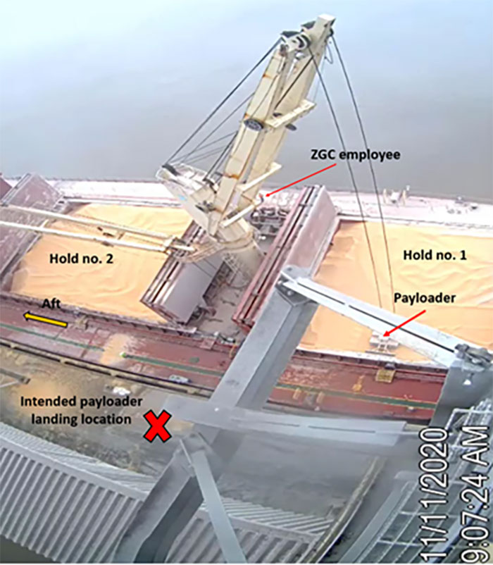 CCTV still image of the GH Storm Cat's crane during the initial sequence of the accident list—lifting the payloader out of ship's no. 1 cargo hold.