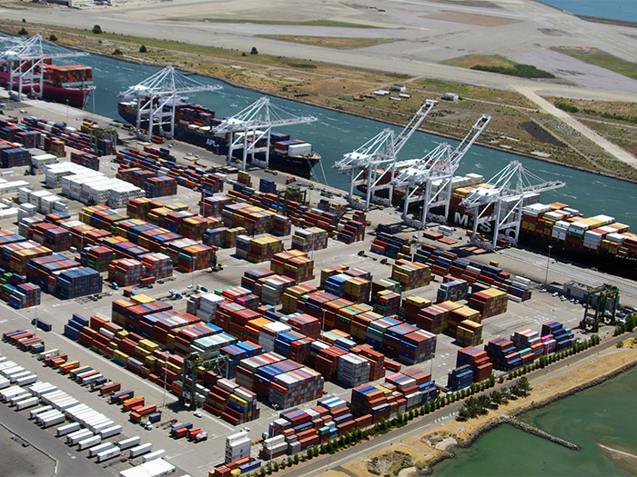 Aerial view of Port of Oakland